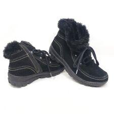 BARETRAPS Ankle Boots Deelya Black Leather Faux Fur Casual Winter Womens GUC 7