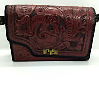 Reversible Tooled Leather Clutch Purse Missing Strap Vintage Black Red