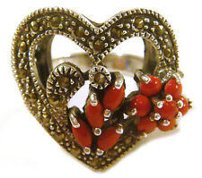 TAXCO Mexico .925 Sterling Silver Heart Coral Ring with Marcasite Size 10