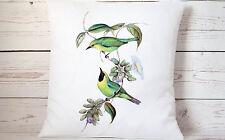 """Botanical birds - 16"""" cushion cover French shabby vintage chic - UK handmade"""