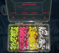 Eagle Claw Jig Heads red sickle Hooks, box in 4 colors 4 sizes #6,#4,#2,#2 lot z