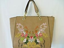 Faux Leather Look Shoulder Purse Bag w Floral Embroidered Details Brown  #4784