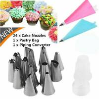 26PCS/Set Silicone Icing Piping Cream Pastry Bag and 24 x Stainless Steel Nozzle