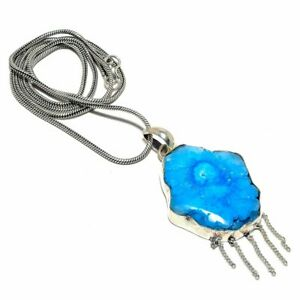"Blue Solar Quartz Druzy Gemstone 925 Sterling Silver Jewelry N-71 Necklace 18"""