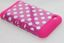 iPod Touch 4th Gen - HARD & SOFT RUBBER HYBRID IMPACT CASE HOT PINK POLKA DOTS