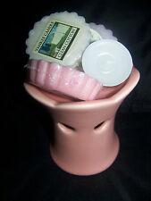 YANKEE CANDLE PINK CERAMIC TART BURNER 3 ASSORTED TARTS & TEALIGHT NEW