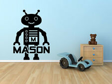 "Robot Monogram Name Vinyl Wall Decal Graphics 22""x16"" Boys Bedroom Nursery Decor"