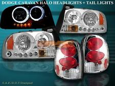 1998 1999 00-03 DODGE DURANGO CHROME HALO LED HEADLIGHTS +CHROME TAIL LIGHTS NEW