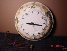 Vintage,Clock,Wall,Porcelain,Flowers,Pretty,Yellow,Old