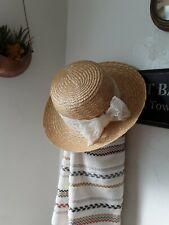 Vintage Contempo Casuals 80's straw hat with lace made in Italy