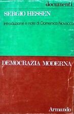 DEMOCRAZIA MODERNA Hessen ARMANDO documenti introduzione e note di novacco