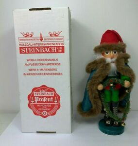 "Steinbach The Irish Santa Nutcracker Green Fur Lined Cape Garland Bells 17"" Tall"