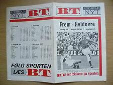 Programma di calcio 1967-frem V HVIDOVRE, 17 AGOSTO (programma di calcio DANESE)