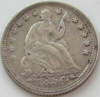 1854 Seated Liberty Silver Half Dime in a SAFLIP® - Arrows - XF- (VF+++) Details