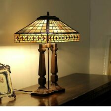 Tiffany Style 2 Light Mission Table Lamp Double Stem Amber Brown Jewels Shade