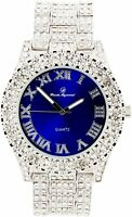 Men Fully Iced Watch Bling Rapper Simulate Diamond Silver Blue Band Luxury Club