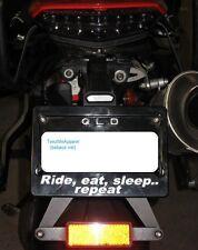 "Motorbike NUMBER PLATE FRAME for KAWASAKI, HONDA ""Ride, eat, sleep .. repeat"""