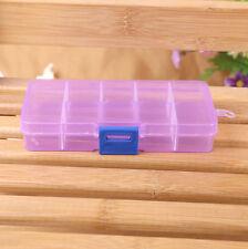 Purple Adjustable Jewellery Tool Beads Pills Organiser Nail Art Storage Box Case