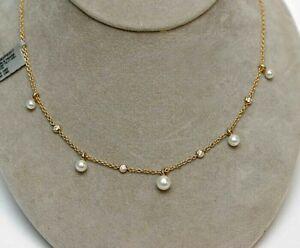 DAVID YURMAN NEW 18K Yellow Gold Petite Pearl and Diamond Fringe Necklace