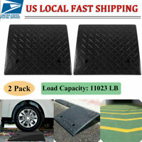 "2 Pack 5 Ton Rubber Curb Ramp - 4.3"" Height - End Caps - Portable US STOCK USA"