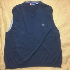 Chaps Mens Size XXLarge Navy Blue V Neck Solid Dress Vest Causal