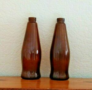 """2 MICHELOB AMBER 10 OZ. GLASS EMPTY BEER BOTTLES SET 7.5"""" Tall"""