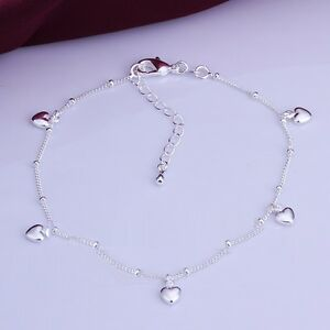 925 Sterling Silver Plated 5 Heart Charm Anklet 27 cm with Extension Chain KPAN4