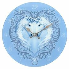 Beautiful Blue Glass Unicorn Heart Clock From The Annie Stokes Collection