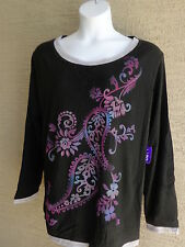 NWT Just  My Size L/S Scoop Neck Glitzy Graphic Twofer Tee Top Black Multi 2X