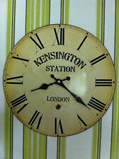 NEUF, Horloge Murale Rond montre en métal vintage KENSINGTON STATION LONDON