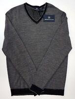 FLAW NWT $150 Hart Schaffner Marx LS Sweater Mens M 100% Merino Wool Grey Stripe