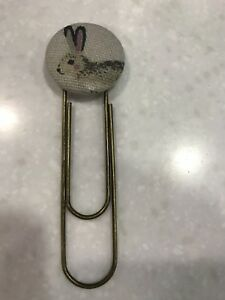 Handmade Fabric Button Bookmark / Giant Paperclip In Sophie Allport Fabric