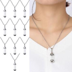 Set of 10 Glass Vial Pendant Necklace Urn Tube Keepsake Chain Perfume Capsule