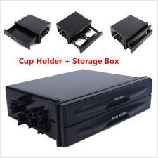 1x Vehicle Car Black Double Din Radio Pocket Drink Cup Holder Storage Box