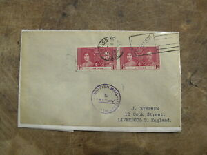 1939 Antigua Stamp Cover - British Mail sea frank -Shipping, Boat interest