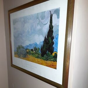 Van Gogh,Wheatfield With Cypresses.Museum Framed.