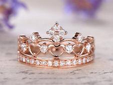 1ct Round Cut Diamond Royal Princess Crown Engagement Ring 14k Rose Gold Finish