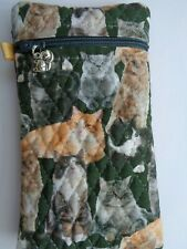 ZIPPERED GLASSES SPECTACLE CASE POUCH BLACK CAT FABRIC