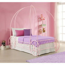 Pink Twin Metal Carriage Canopy Bed Frame Home Living Bedroom Girls Furniture
