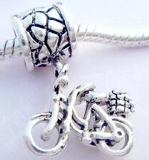 Mini cute bike Silver hallmarked Bead Stopper thread fit Charm Bracelet JS208