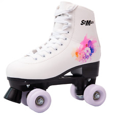 Stmax Quad Roller Skates for Girls  White and Purple size 4 Youth 4-Wheels