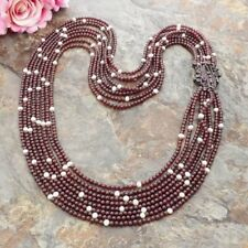 24k gold plated CZ Connector  8 Strands Garnet White Pearl Necklace