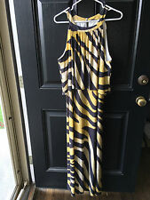 New $159 Rare, Gorgeous Chico's Golden Zebra Bib Maxi Dress Sz 3 = XL 16 18 NWT