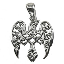 Sterling Silver Small Raven Pentacle Pentagram Pendant Crow Dryad Design Totem