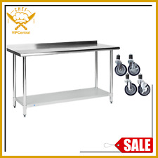 24 X 60 Stainless Steel Table Work Prep Restaurant Backsplash w/ 4 Caster Wheels