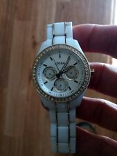Fossil ES-2363 Women's White Plastic Band Water Resistant Watch with NEW BATTERY