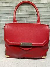 Alberta Di Canio Red Leather Satchel Handbag Crossbody Bag