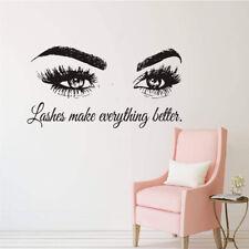 English Letter Wall Sticker Eye Lash Open Eyes Girls Bedroom Art Decals 42x77cm