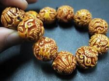 Stretchy Delicate Carved Dragon Phoenix Bone Powder Beaded Amulet Bracelet NG
