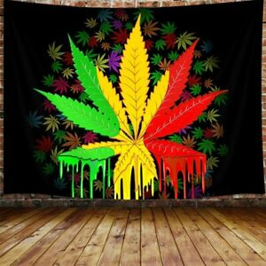 Marijuana Leaf Tapestry, Weed Psychedelic Tapestry Wall Hanging for Bedroom
